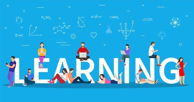 Conceito de e-learning. jovens com tablet