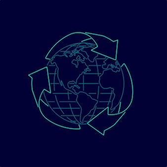 Conceito de eco amigável, gráfico de símbolo de reciclagem com globo