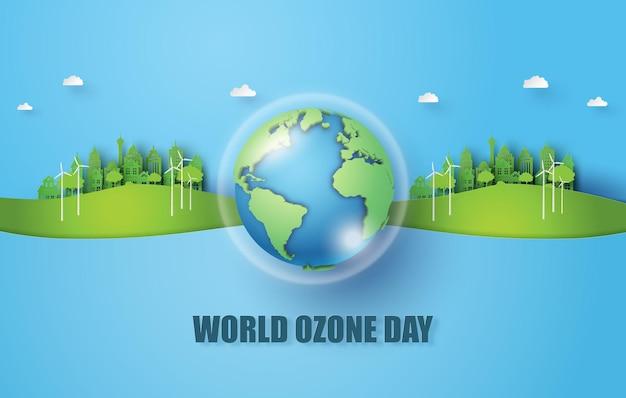 Conceito de eco e dia mundial do ozônio, estilo de corte de papel.