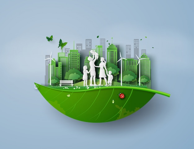 Conceito de eco e meio ambiente com a família
