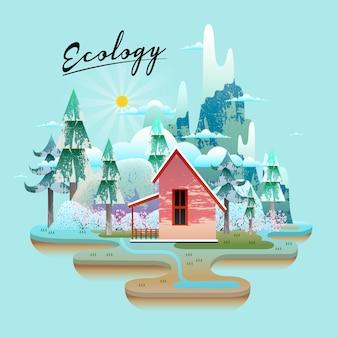 Conceito de ecologia, bela floresta de neve com casa vermelha