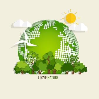 Conceito de ecologia com fundo de árvore