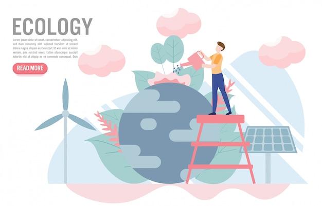Conceito de ecologia com modelo de personagem