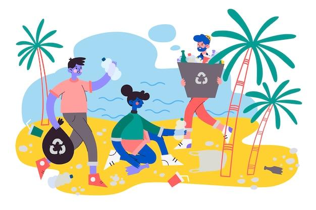 Conceito de ecologia com pessoas limpando a praia