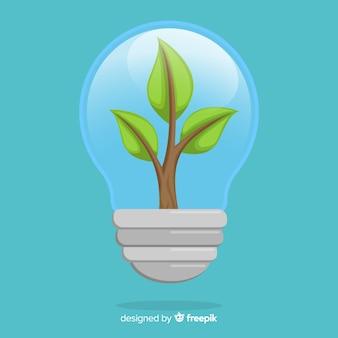 Conceito de ecologia com planta crescendo dentro de uma lâmpada