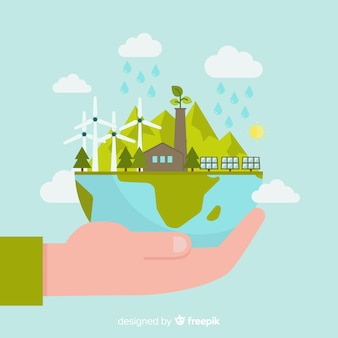 Conceito de ecologia design plano com elementos naturais