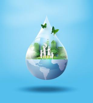 Conceito de ecologia e dia da água mundial. arte em papel e estilo de artesanato digital.