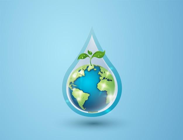Conceito de ecologia e dia mundial da água. arte em papel, corte de papel, estilo de colagem de papel com artesanato digital.