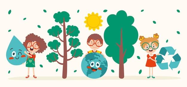 Conceito de ecologia e sustentabilidade com desenhos animados para crianças