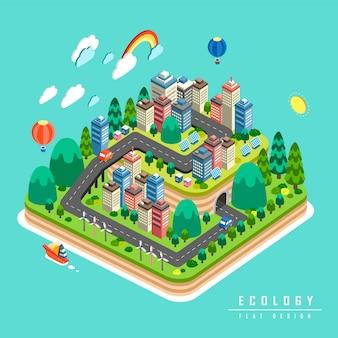 Conceito de ecologia, elementos ambientais com cidade verde em design isométrico