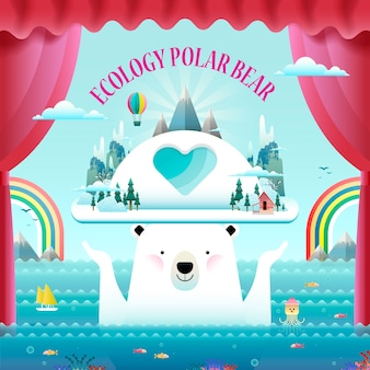 Conceito de ecologia, elementos ambientais com urso polar