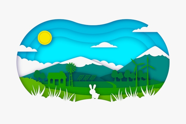 Conceito de ecologia em estilo de papel com coelho