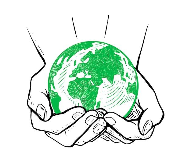 Conceito de ecologia, globo mundial do dia da terra nas mãos