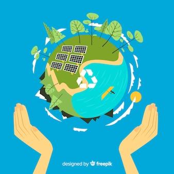 Conceito de ecologia plana com painéis solares