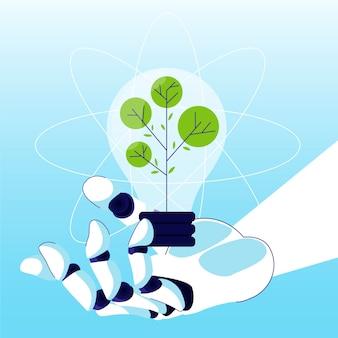 Conceito de ecologia tecnológica com mão robótica e lâmpada
