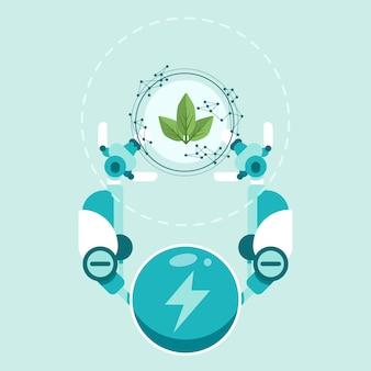 Conceito de ecologia tecnológica com mãos de robô e planta