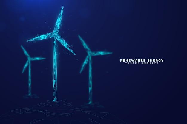 Conceito de ecologia tecnológica com moinhos de vento