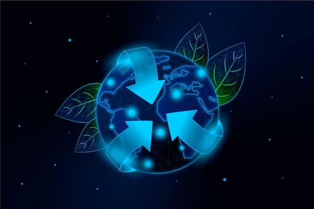 Conceito de ecologia tecnológica com o planeta