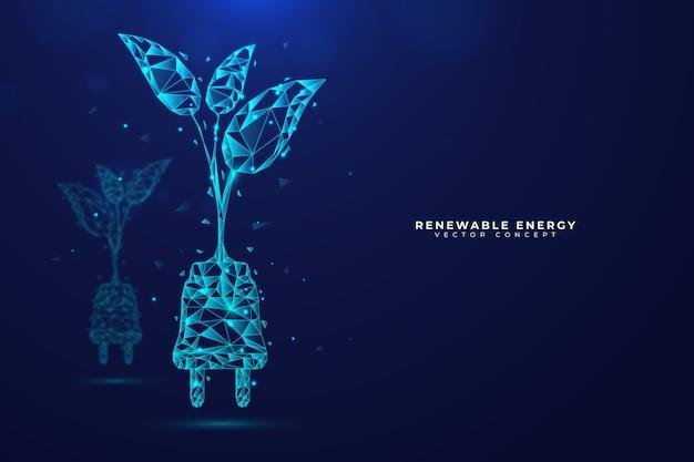 Conceito de ecologia tecnológica com planta e tomada