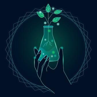 Conceito de ecologia tecnológica com planta