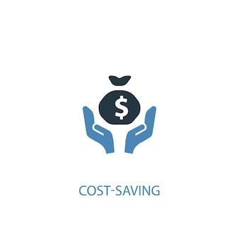 Conceito de economia de custos 2 ícone colorido. ilustração do elemento azul simples. design de símbolo de conceito de economia de custos. pode ser usado para ui / ux da web e móvel