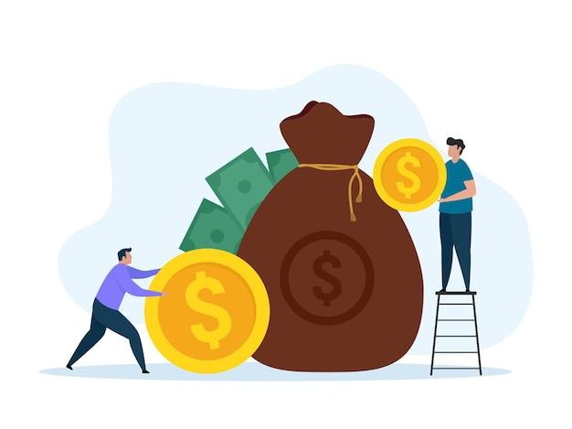 Conceito de economia de dinheiro depósito financeiro ganhando ilustração vetorial sobre fundo branco