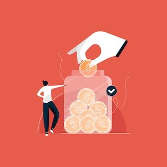 Conceito de economia de dinheiro, economia de moeda de dólar no pote de dinheiro, investimentos para ilustração futura
