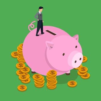 Conceito de economia de dinheiro em design plano 3d isométrico