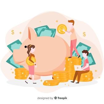 Conceito de economia de dinheiro em design plano