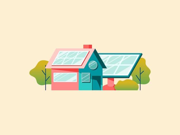 Conceito de economia de energia com painéis solares