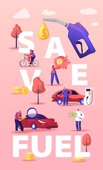 Conceito de economia de gasolina. personagens reabastecendo carro na estação, bombeando óleo de gasolina. ilustração de desenho animado