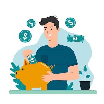 Conceito de economia. homem colocando dinheiro em dólares no cofrinho