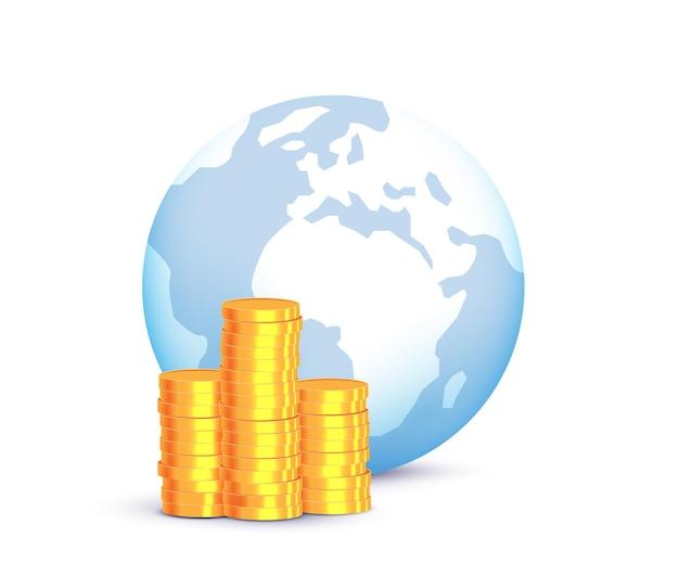 Conceito de economia mundial global com globo e pilhas de moedas de ouro