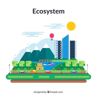 Conceito de ecossistema adorável com design plano