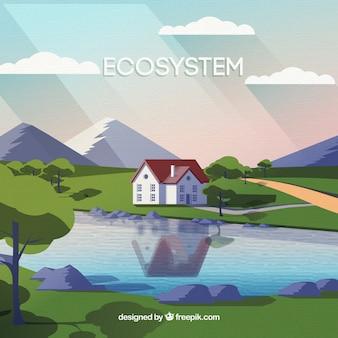 Conceito de ecossistema com casa na frente do lago