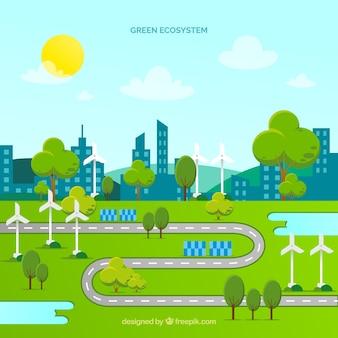 Conceito de ecossistema com estrada e cidade