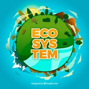 Conceito de ecossistema com globo redondo