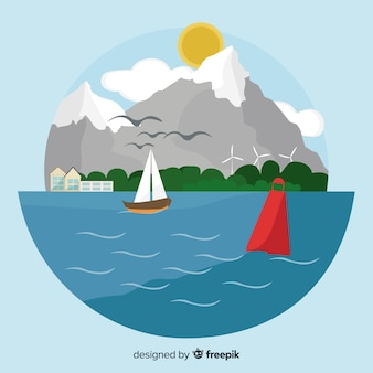 Conceito de ecossistema com mar