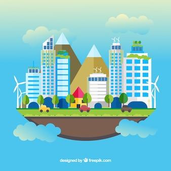 Conceito de ecossistema com nuvens e cidade