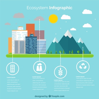 Conceito de ecossistema infográfico plana