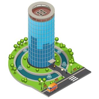 Conceito de edifício de escritórios de vidro moderno isométrico