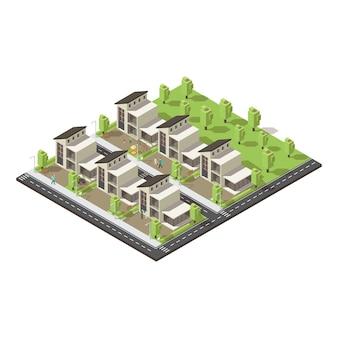 Conceito de edifícios suburbanos complexos isométricos