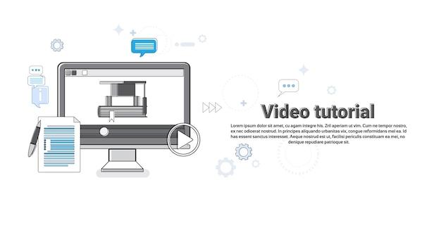 Conceito de editor de vídeo tutorial moderna tecnologia web banner ilustração vetorial