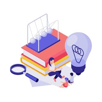 Conceito de educação 3d com personagens humanos isométricos livros ilustração de lâmpada