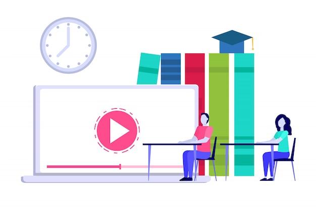 Conceito de educação a distância on-line, internet estudando, cursos de treinamento de e-learning. ilustração.