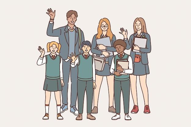 Conceito de educação, aprendizagem e conhecimento. grupo de jovens alunos sorridentes, alunos em pé, acenando com as mãos segurando livros e tablets, mostrando ilustração vetorial de emoção