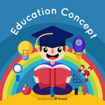 Conceito de educação colorido com design plano