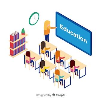 Conceito de educação colorido com vista isométrica