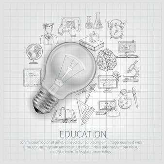 Conceito de educação com a aprendizagem de ícones de esboço e lâmpada realista