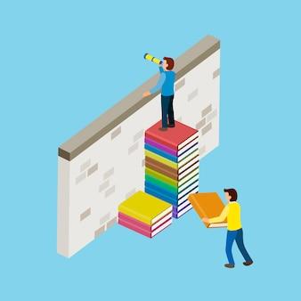 Conceito de educação com escadas de livro em design plano isométrico 3d